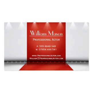 Actor de etapa rojo y blanco - tarjeta de visita