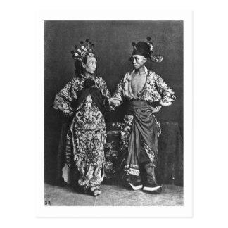 Actores chinos, c.1870 (foto de b/w) postal