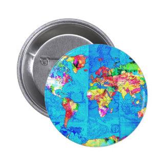 acuarela 10 del mapa del mundo chapa redonda de 5 cm