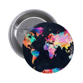 acuarela 21 del mapa del mundo chapa redonda de 5 cm