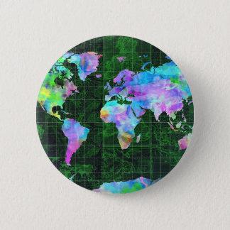 acuarela 23 del mapa del mundo chapa redonda de 5 cm