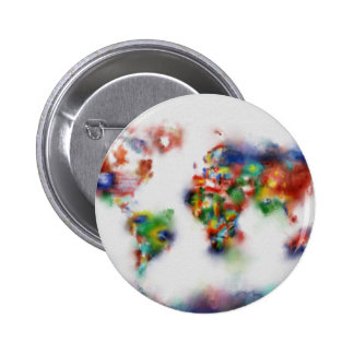acuarela 25 del mapa del mundo chapa redonda de 5 cm
