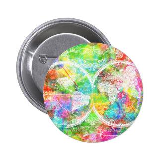 acuarela 28 del mapa del mundo chapa redonda de 5 cm