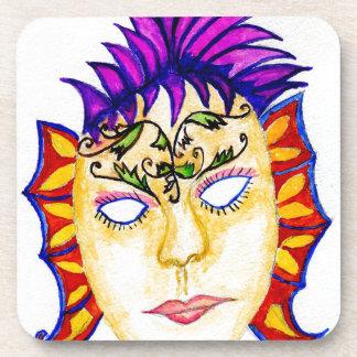 Acuarela 2 de la máscara del carnaval posavasos