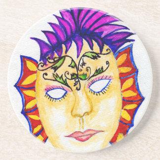 Acuarela 2 de la máscara del carnaval posavasos de arenisca