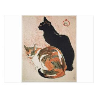 Acuarela - 2 gatos - Théophile Alejandro Steinlen Postal
