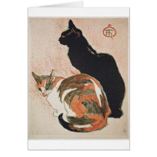 Acuarela - 2 gatos - Théophile Alejandro Steinlen Tarjeta