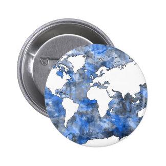 acuarela 7 del mapa del mundo chapa redonda de 5 cm