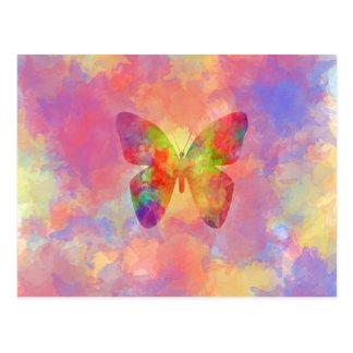 Acuarela abstracta caprichosa del arco iris de la postal
