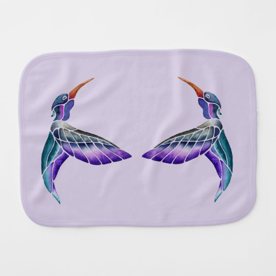 Acuarela abstracta del colibrí paños de bebé