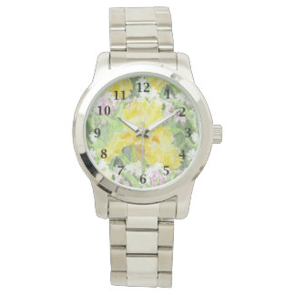 Acuarela alta amarilla del iris barbudo reloj