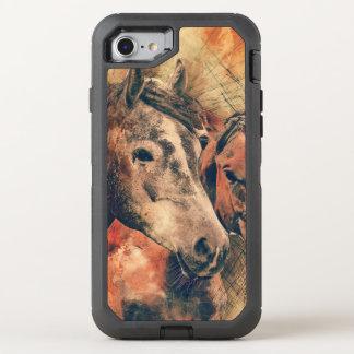 Acuarela artística de los caballos que pinta funda OtterBox defender para iPhone 8/7