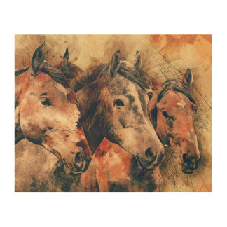 Acuarela artística de los caballos que pinta impresión en madera