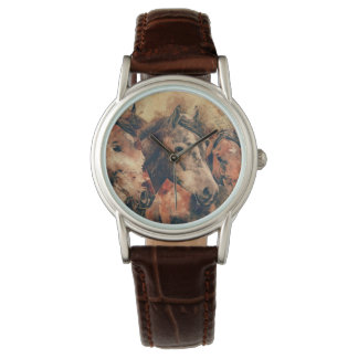 Acuarela artística de los caballos que pinta reloj