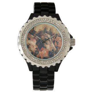 Acuarela artística de los caballos que pinta reloj de pulsera