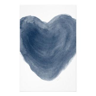 Acuarela azul de la edición del corazón papelería personalizada