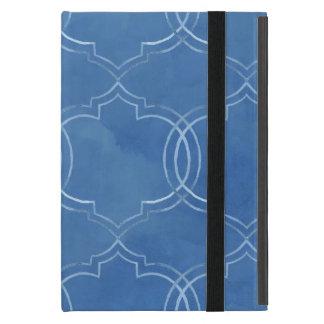 Acuarela azul del modelo de la teja de Quatrefoil iPad Mini Cobertura