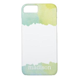 Acuarela azul y verde en colores pastel con funda iPhone 7