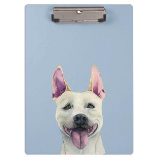 Acuarela blanca del perro de Staffordshire bull