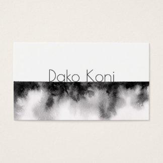 Acuarela blanco y negro minimalista tarjeta de visita