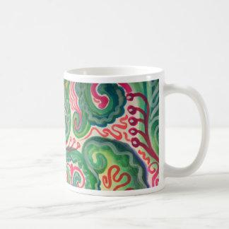 Acuarela caprichosa: Rosa e II verde claro Taza De Café