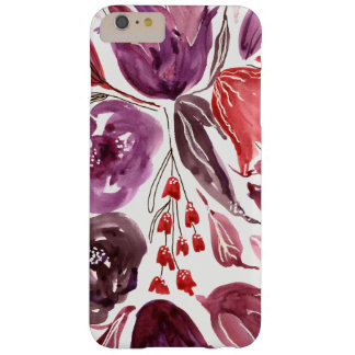 Acuarela caso floral del iPhone púrpura/del rosa Funda Barely There iPhone 6 Plus