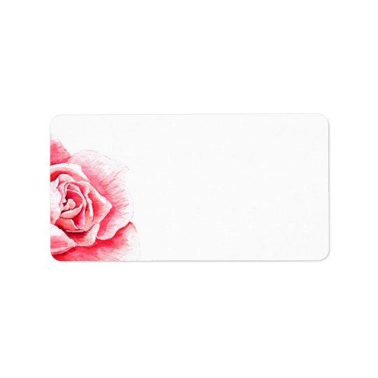 Acuarela color de rosa en blanco etiquetas de dirección