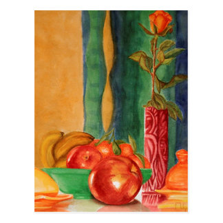 acuarela color de rosa y todavía de las frutas de postal