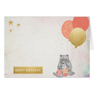 Acuarela con feliz cumpleaños de mamá Bear Baby Tarjeta De Felicitación