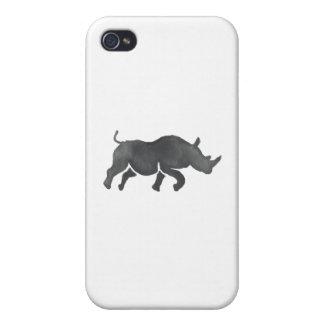 Acuarela corriente de la silueta del rinoceronte iPhone 4/4S carcasas