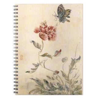 Acuarela de la abeja, de la mariposa y de la cuaderno