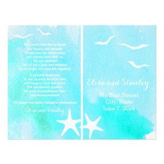Acuarela de la aguamarina, programa del boda de folleto 21,6 x 28 cm