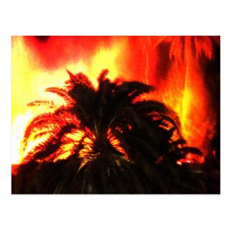 Acuarela de la erupción del volcán postal