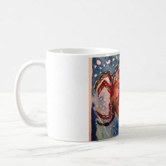 Acuarela de la imagen del cangrejo en la taza