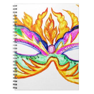 Acuarela de la máscara del carnaval cuaderno