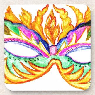 Acuarela de la máscara del carnaval portavasos