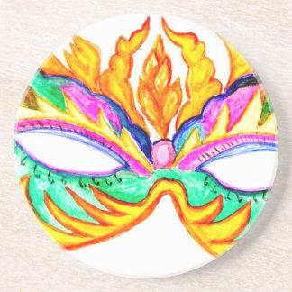 Acuarela de la máscara del carnaval posavasos