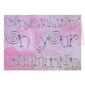 Acuarela de la tipografía de la comunión de la tarjeta de felicitación