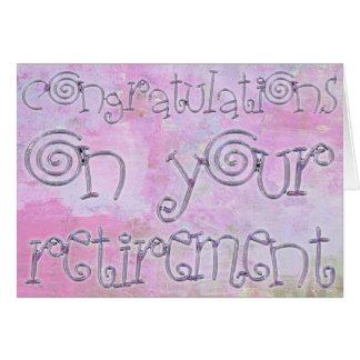 Acuarela de la tipografía del retiro de la tarjeta de felicitación