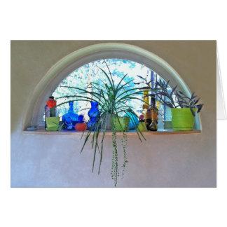 Acuarela de la ventana de la media luna tarjeta de felicitación