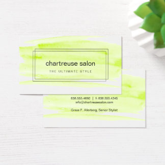 Acuarela de la verde lima encajonada tarjeta de visita