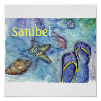 Acuarela de las sandalias de Sanibel Póster
