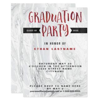 Acuarela de mármol de la fiesta de graduación invitación 12,7 x 17,8 cm