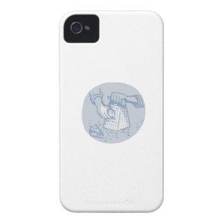 Acuarela de rejilla del círculo del rallador del funda para iPhone 4