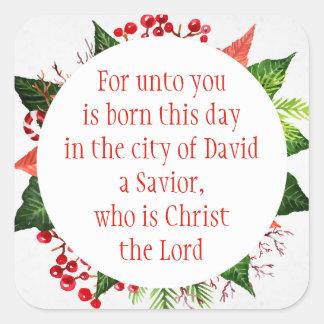 Acuarela del 2:11 de Lucas de la escritura del Pegatina Cuadrada