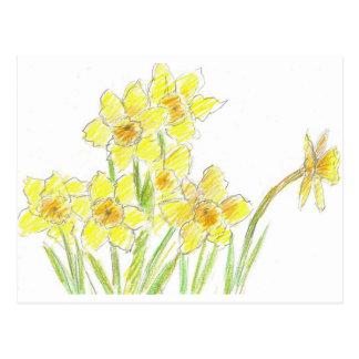 Acuarela del amarillo de la postal de los narcisos