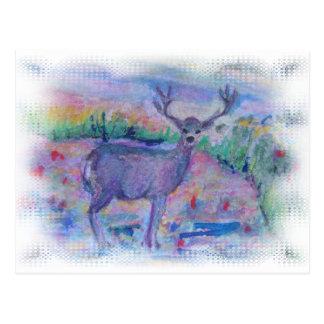 Acuarela del animal salvaje de los ciervos impresa tarjetas postales