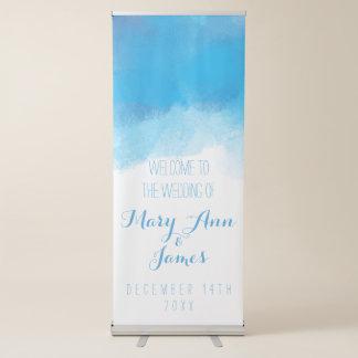 Acuarela del azul de la recepción del boda de la pancarta retráctil