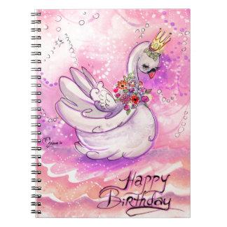 Acuarela del cisne del cumpleaños cuaderno
