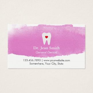 Acuarela del corazón del diente de la cita del tarjeta de visita